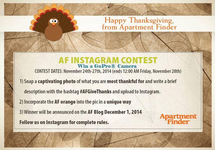 Apartment Finder 2014 Thanksgiving Contest- here's your chance to win a Gopro camera!