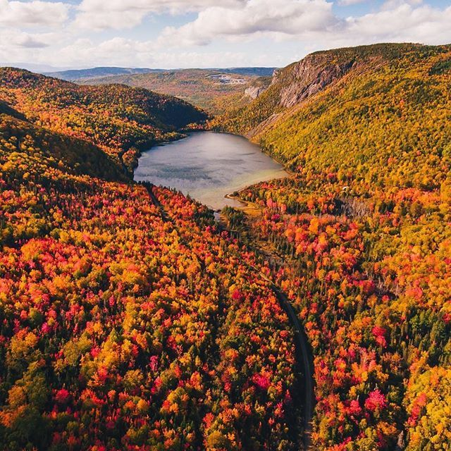 Fall Dreams Really Do Come True This Vibrant Landscape Was Captured Just Outside Of Marble Mountain Re Drone Photography Landscape Aerial Photography Drone