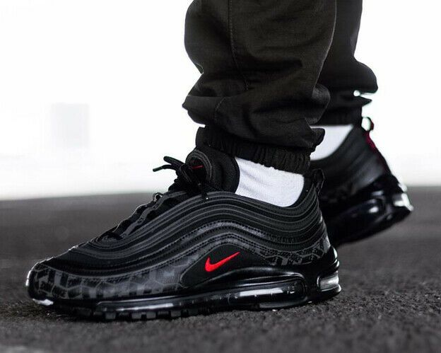 Nike Men's Air Max 97 All Over Print Black Red AR4259 001