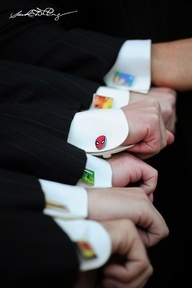 groomsmen cool gift: custom superhero #cufflinks! #groomsmen #gifts.... lol i could see Theran wanting to do this!