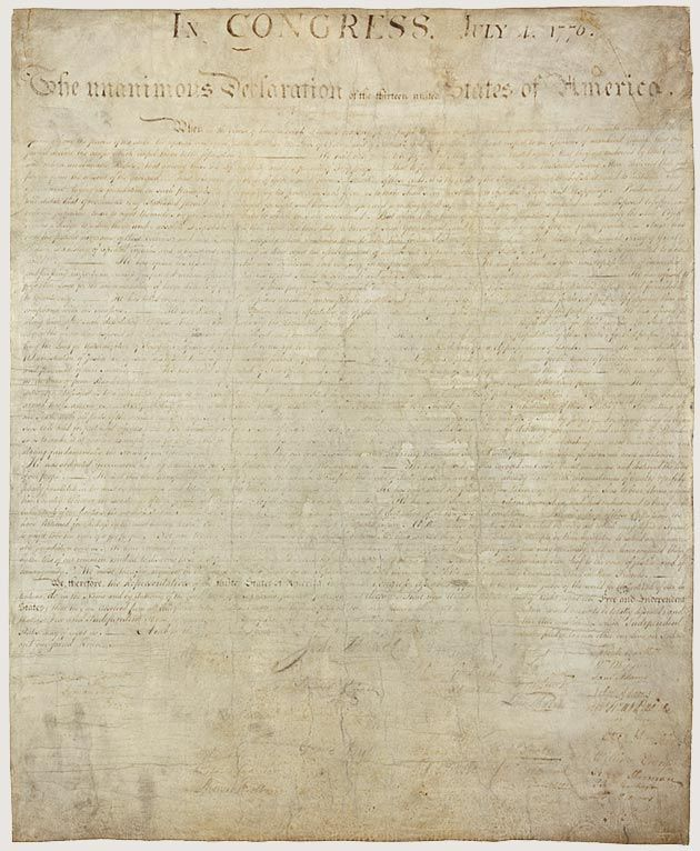 The original Declaration of Independence. One of the Charters of Freedom at the National Archives.