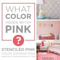 Estampado combinações de cores rosa, utilizando estênceis de ponta e Benjamin Moore Tintas!  http://www.cuttingedgestencils.com/cascade-allover-stencil-pattern.html