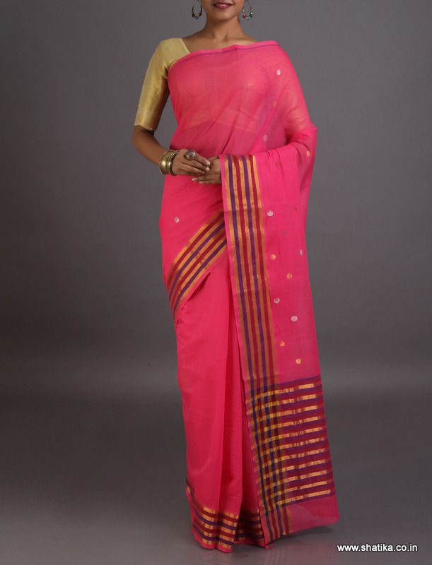 Alpana Rose Pink zari Bootis Striped Border Pallu #VenkatgiriCottonSaree