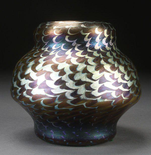 A Fine Early L C Tiffany Art Glass Vase Tiffany Art