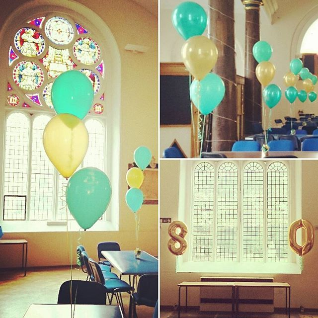 80th birthday in a beautiful church in East London #balloons #party #Aballoon