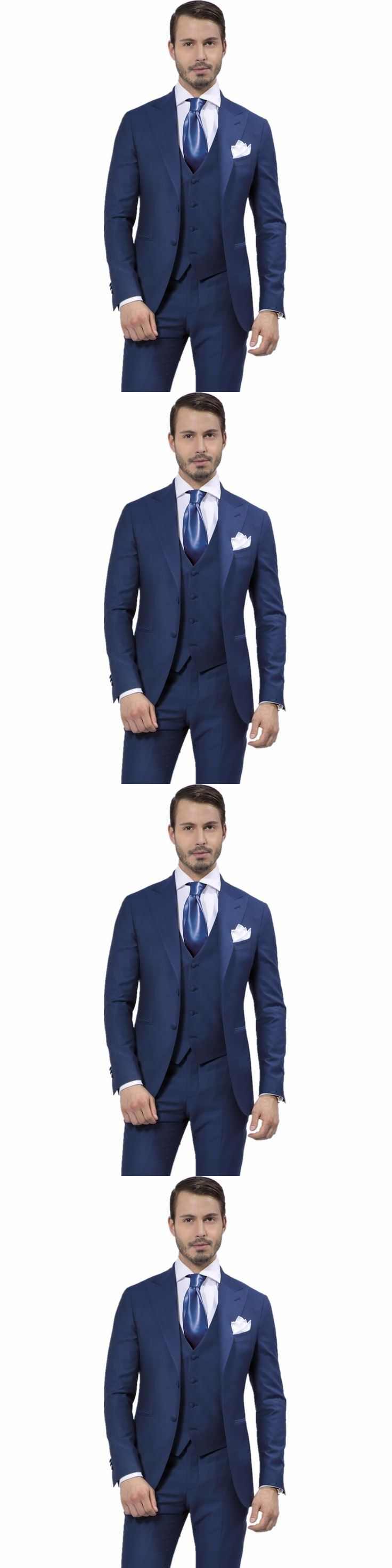 3Pieces Mens Suits Fashion Design Navy Blue Wedding Groom Tuxedos Slim Best man Party Dress Morning Style(Jacket+Pants+Vest+Tie) #menssuitsnavy