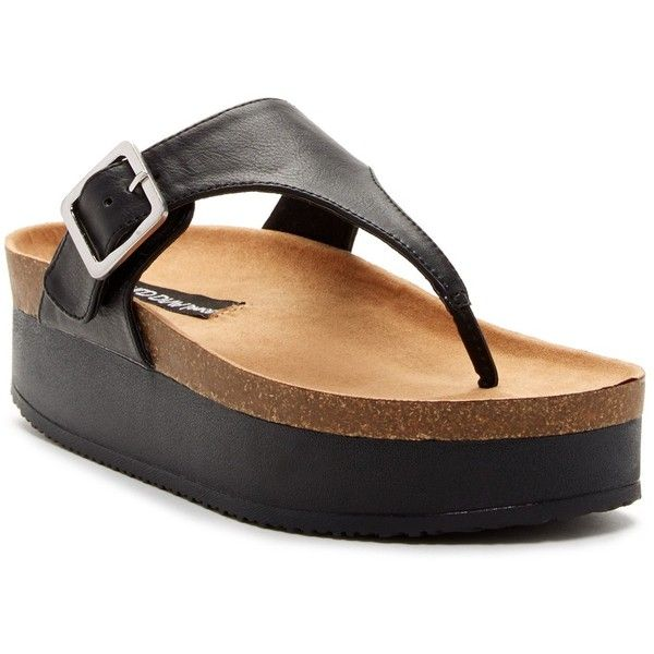 Legend Footwear Reina Sandal Platform Flip Flop (18 CAD) ❤ liked on Polyvore featuring shoes, sandals, flip flops, black, black flip flops, platform slip on shoes, black slip-on shoes, platform sandals and black shoes
