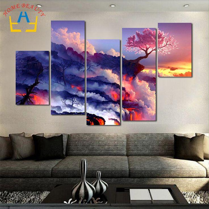 5 шт./компл. большое полотно : картины на стене печать домашнего декора холст стены искусства модульная фотографии нет кадров FH120 купить на AliExpress