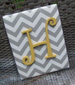 Totally DIY-able with board, paint, fabric, and one of the pre-cut letters.  Wall Letters, 11x14, Gray Chevron, Nursery Letters, Gray and Yellow, Gray Nursery, Painted Letters, Wood Letters, Personalized, Monogram. $24.99, via Etsy- great gift for lin