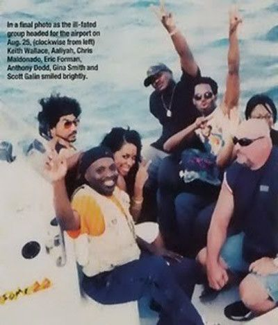 Aaliyah, boarding a boat that would take her and her entourage to the airport where they would board a plane that would tragically crash.