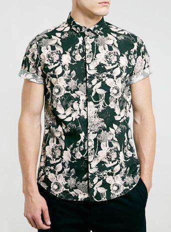 Dark Roses Short Sleeve Smart Shirt