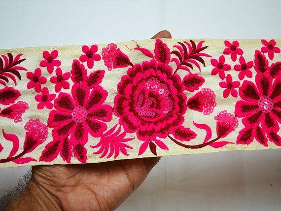 9 Yard Wholesale Magenta Decorative Laces Sari Border Fabric Embroidered Ribbon Craft Trim Fashion Embellishment Trimmings sewing border