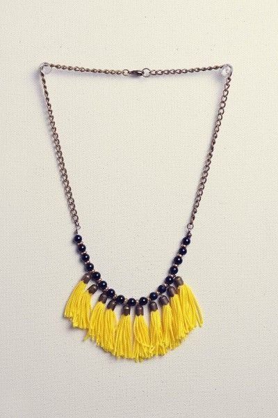 yellow nylon - earl dalby necklace - handmade