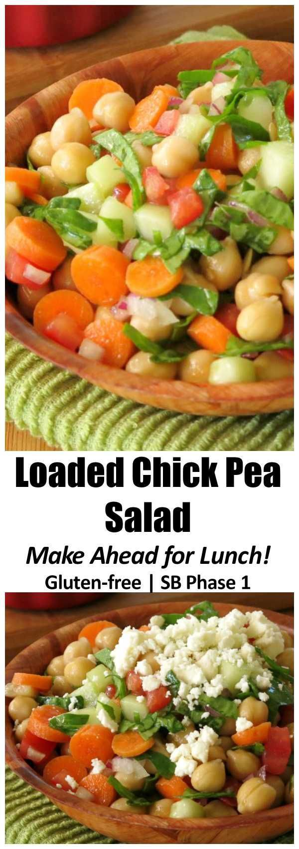 Healthy Chick Pea Salad with feta cheese is loaded with vetetables and is perfect packed in mason jars for lunches all week. Make ahead because it tastes even better after it marinates! Gluten-free, South Beach Phase 1, vegetarian and vegan option.