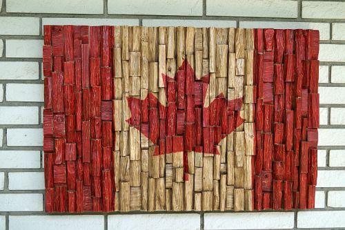 Канадский флаг, художественные изделия из дерева, переработанного дерева, деревянные стены искусства