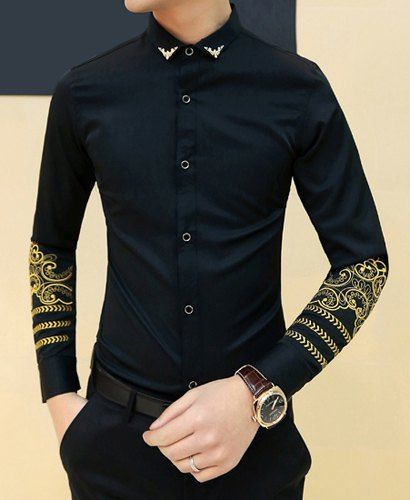 Fashion Metal Embellished Turn-down Collar Slimming Embroidery Long Sleeves Shirt For Men