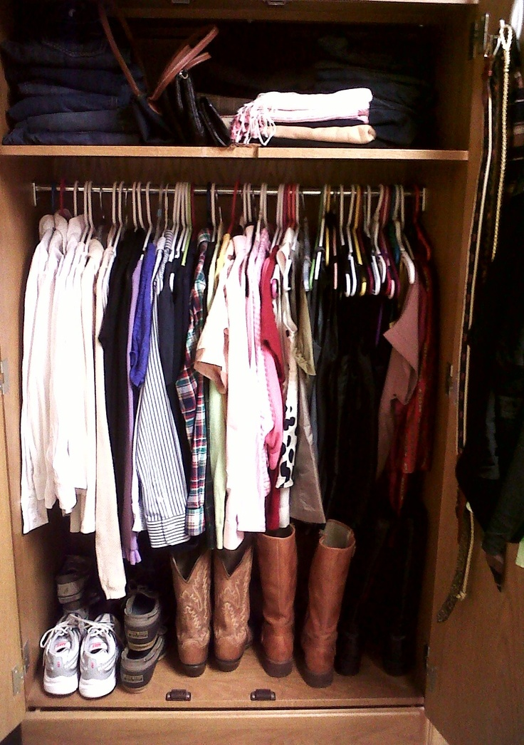college closet, love that the jeans are folded up top. might be a good idea if after college we have a small apartment closet