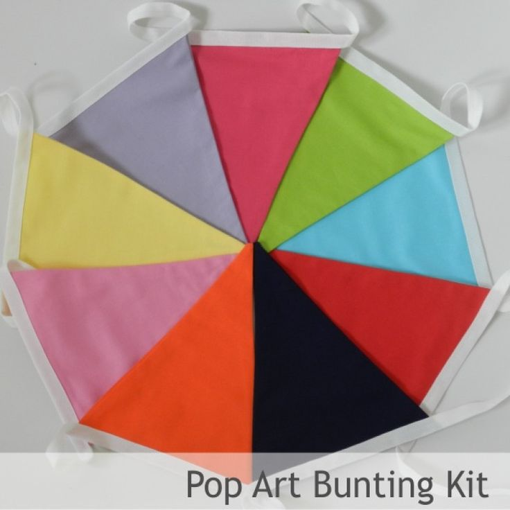 Bunting Kit - Pop Art - all you need to make 3 mtrs of fab bunting in solid colours inspired by all things girly!  Triangles, specialist bunting tape, full instructions and a fab drawstring bunting bag to store you homemade bunting in!