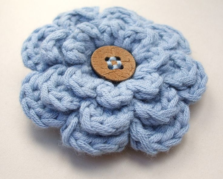 Pinning this because I love the way the button is stitched on  Must remember  Free Pattern  Frothy Flower in Blue