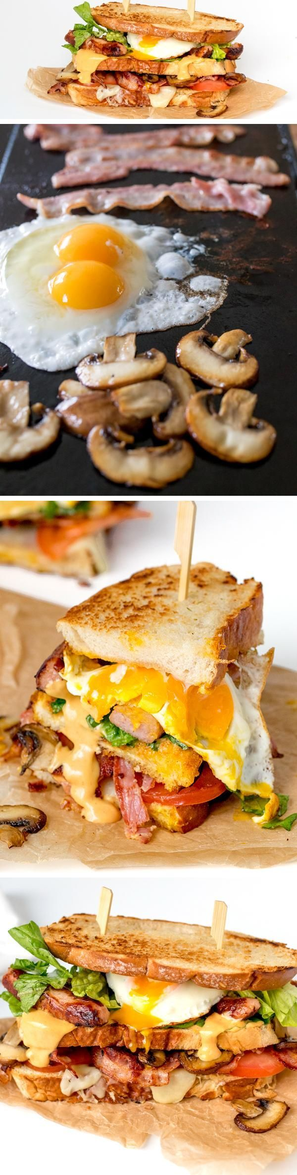 The ultimate BREAKFAST GRILLED CHEESE with a smoky special sauce - get those napkins ready, it's a messy one!