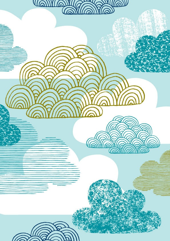 I don't think I would sponge clouds like this, but the lines and the scalloped style graphics are great!