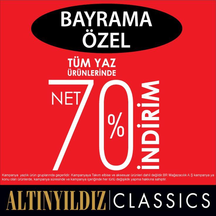 Bayrama Özel tüm yaz ürünlerinde net % 70 indirim...  Altınyıldız Classics #ANKAmall 1. Katta.