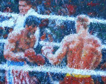 "ORIGINAL oil painting of Sylvester Stallone Rocky 4 Drag0 art 11""x14"" Bill Pruitt"