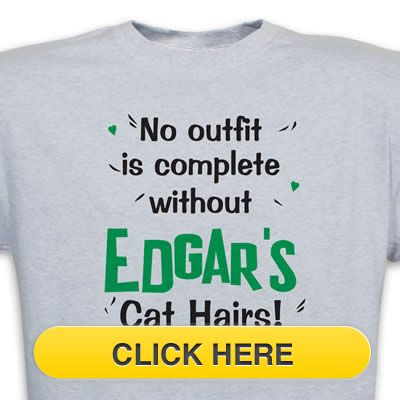 "Check our ""Personalized"" Cat Hair T-Shirt to celebrate you #pet #animal#cat love. Just $18.99 + an extra $5off Just Enter Coupon Code: SAVEMORE5 at checkout at  http://www.petproductadvisor.com/store/mc/cat-hair-customizable-tshirt.aspx"