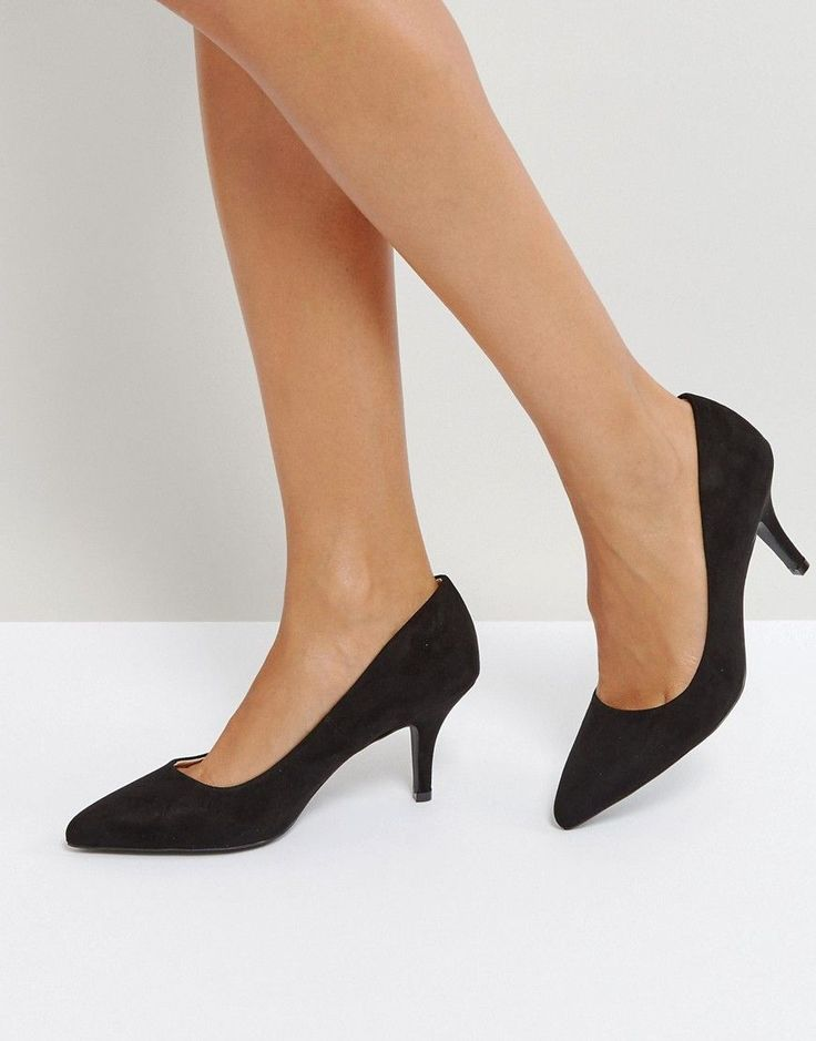 Qupid Kitten heel Point High Heels - Black