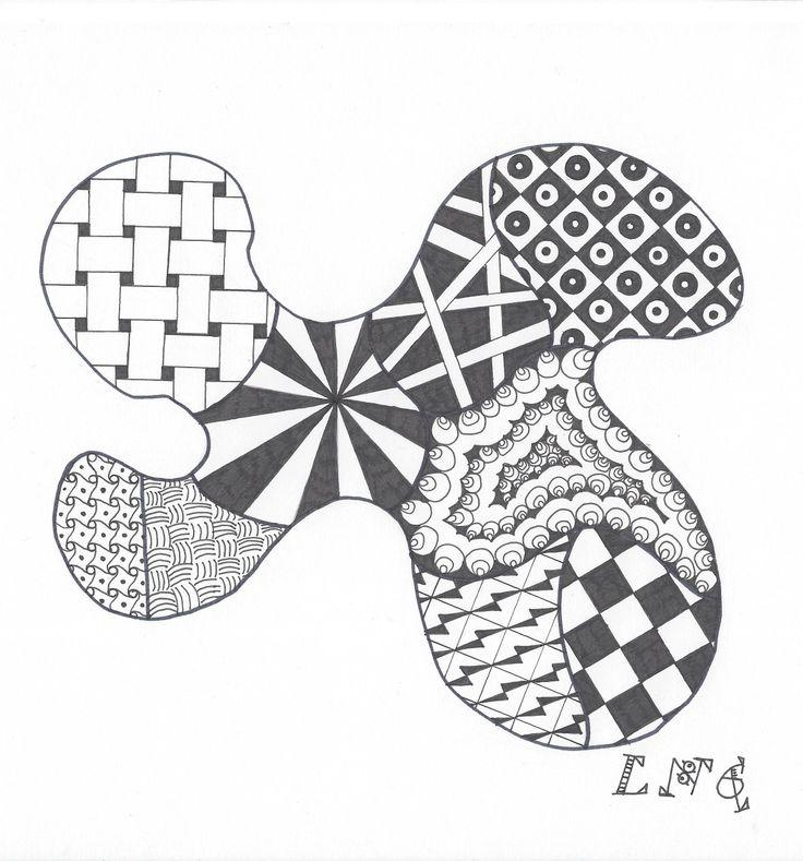 L.N.G. Original Zentangle #8  (Black & White)