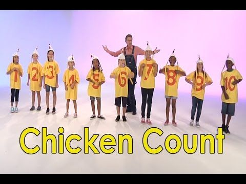 The chicken count engages children with rhyming, repetition, silly chicken moves as they count to 10. Chicken Count has a fun country style musical arrangement. Use Chicken Count when teaching the basic math skill of how to count to 10 or with your classroom brain breaks. You can act out this count to 10 chicken song in your class with children wearing necklaces with the numbers 1 to 10 attached.