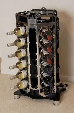 Wine Rack Made From A Converted V12 Engine Block Now That