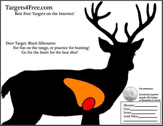 Deer Target with vitals (heart and lungs) by Targets 4 Free. Nice dark black silhouette version for high visability. #guns #shooting #hunting #target #targets #free #printable #targets4free