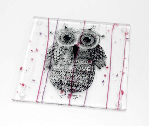 Owl glass coaster - bird hand printed on fused glass - melted glass coaster - black night owl on pink purple violet glass - teacher gift