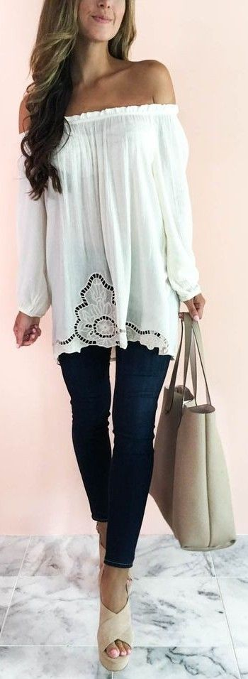 #summer #musthave #trends   White Off The Shoulder Top + Black jeans