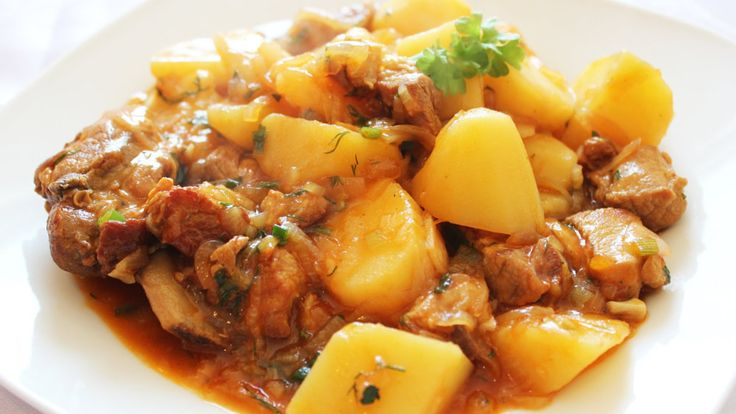Zharkoe (жаркое) is traditional Russian beef and potatoes stew. In Russian, zharkoe also means a 'hot dish'. It's usually cooked slowly, over a medium heat