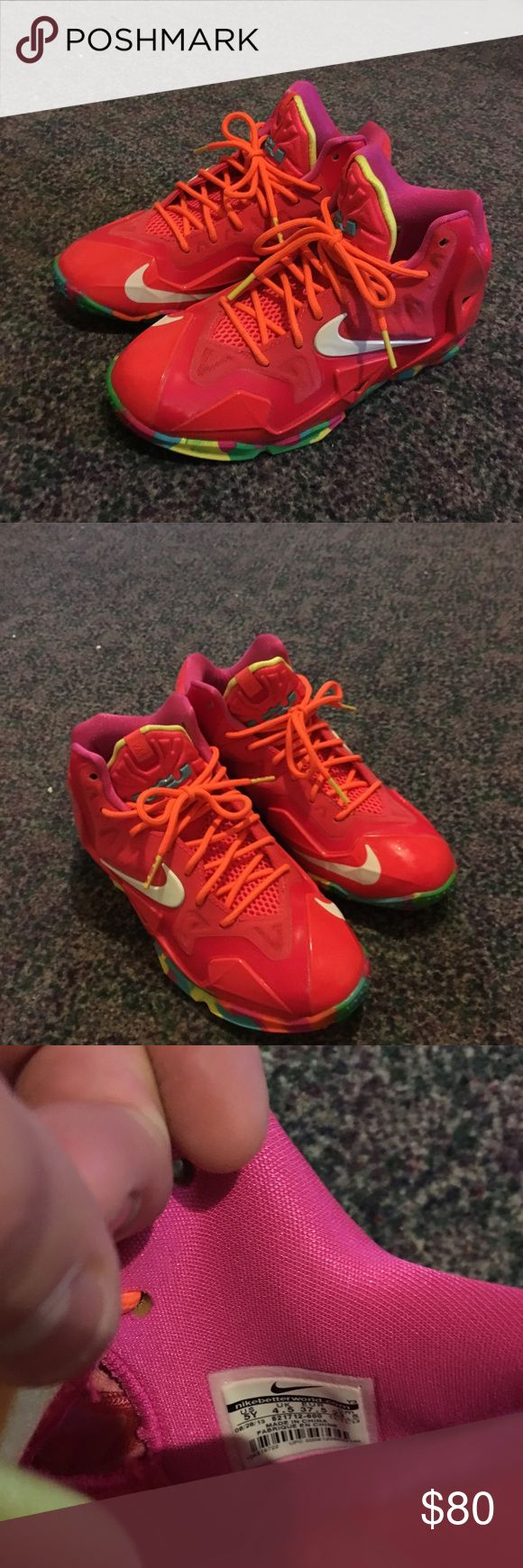 Lebron 11's fruity pebbles Lebron 11's fruity pebbles Only worn once in house size 5y basically brand new will deliver if need be Nike Shoes Athletic Shoes