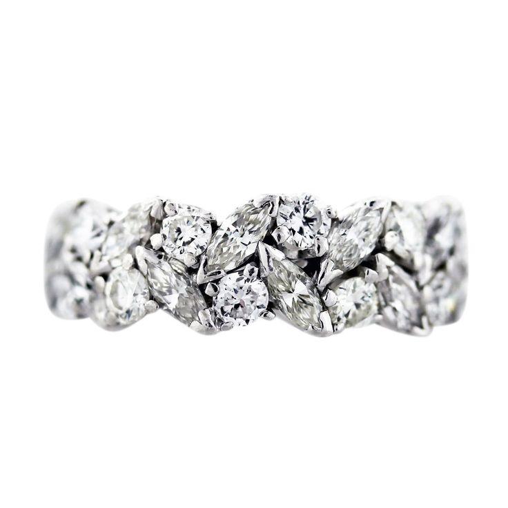 3.5 carat Platinum Marquise and Round Diamond Eternity Band Ring, marquise wedding ring