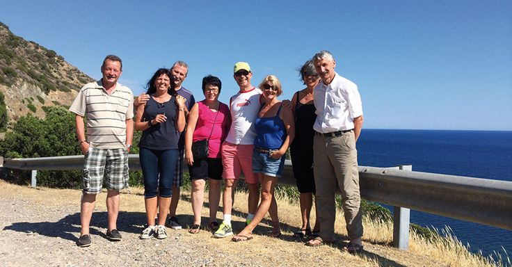"Group at our panorama stop near the red island ""isola rossa"""