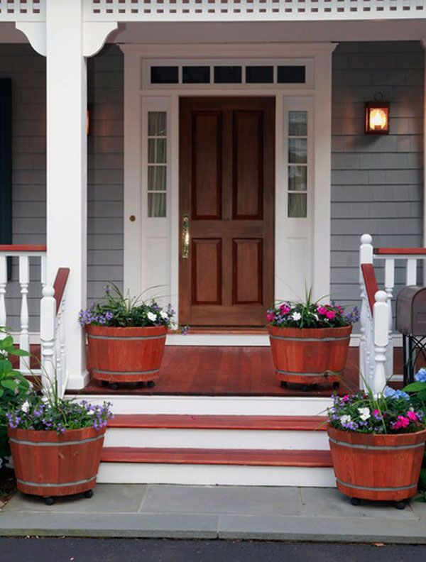 Charming Like The Design Of The Frame. Just Make The Door Red And The Trim Gray. 30 Front  Door Ideas And Paint Colors For Exterior Wood Door Decoration Or Home ...