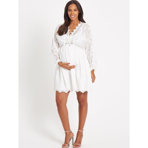 Rochelle Humes Maternity Dress &Ndash; Ivory ($45) ❤ liked on Polyvore featuring maternity