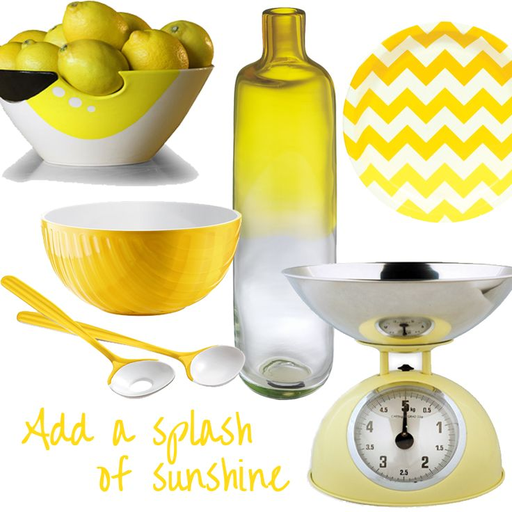 Add a splash of sunshine to your countertops with zesty lemon decoration! This happy colour can make a bold and splendid statement on walls and cabinetry, or can be used equally well  with accent accessories. Yellow is perfect for imitating sunny rays if your kitchen has limited natural lighting.