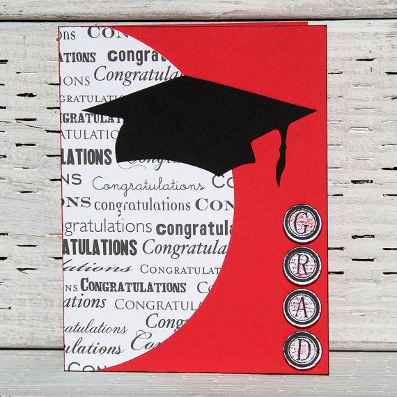Graduation Card in Red and White with Black Cap by CarolaBartz