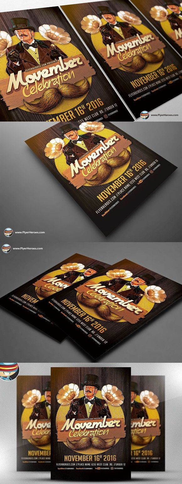 Movember Celebration Flyer Template #photoshop