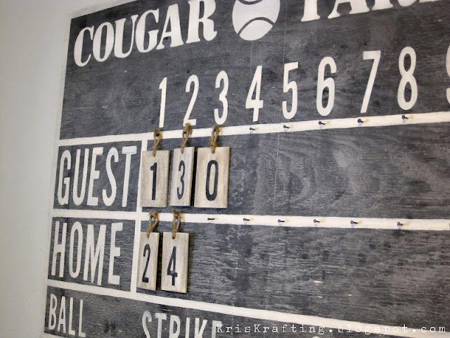 Boys Room - DIY how to make scoreboard like Pottery Barn.