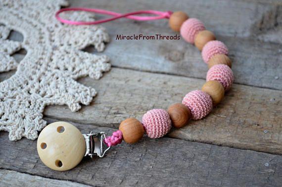 Wooden Pacifier chainBeige pink Dummy clipwooden