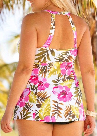 f59e290a20f28 Plus Size Flower Print Swimdress and Panty | Rosewe.com - USD $29.93. Plus  Size H Back Swimdress and Black ...