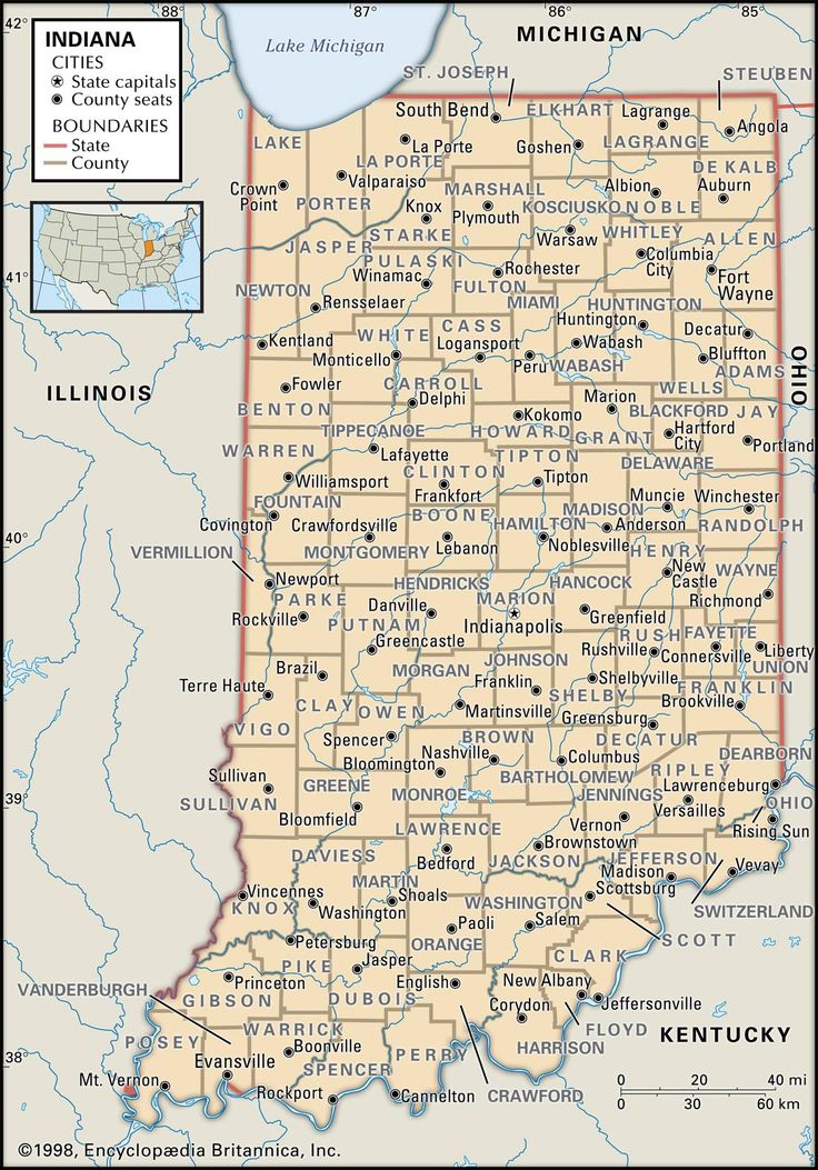 County map of indiana family history research