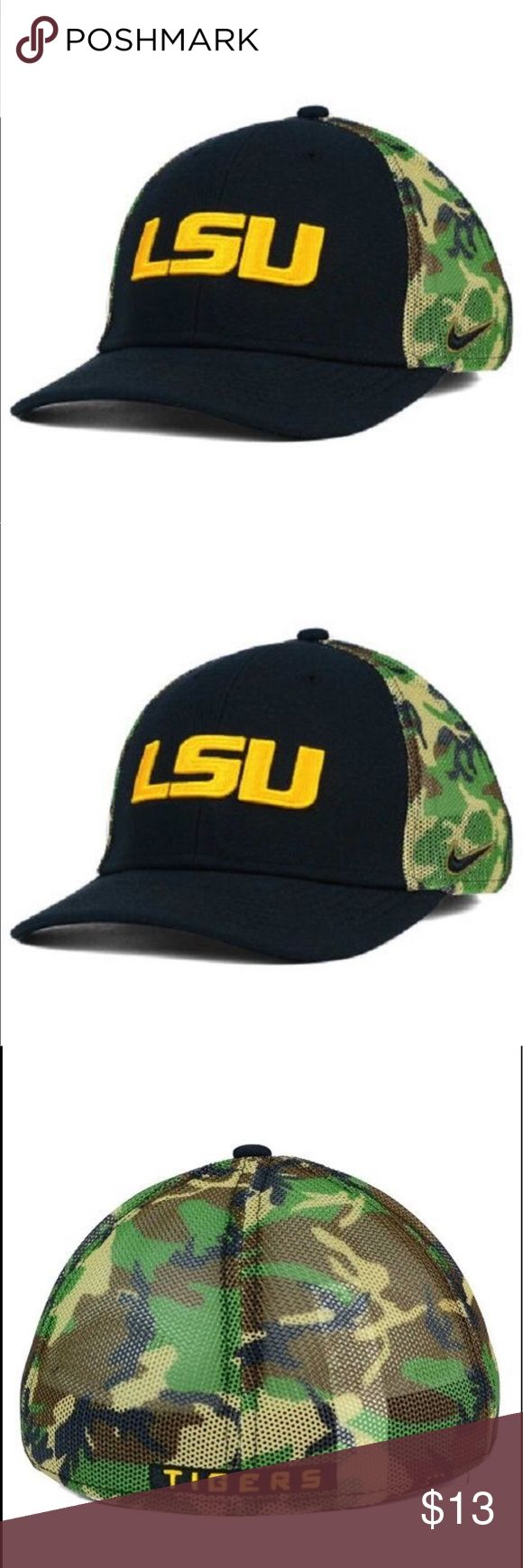 "LSU Tigers NCAA Nike Swoosh Flex Fitted Hat LSU Tigers NCAA Nike ""Camo Hook"" Swoosh Flex Fitted Hat   Product Details  LSU Tigers NCAA Nike ""Camo Hook"" Swoosh Flex Fitted Hat Nike Camo Hook Cap Swoosh Flex Stretch Fitted Size One Size Fits Most Nike Other"