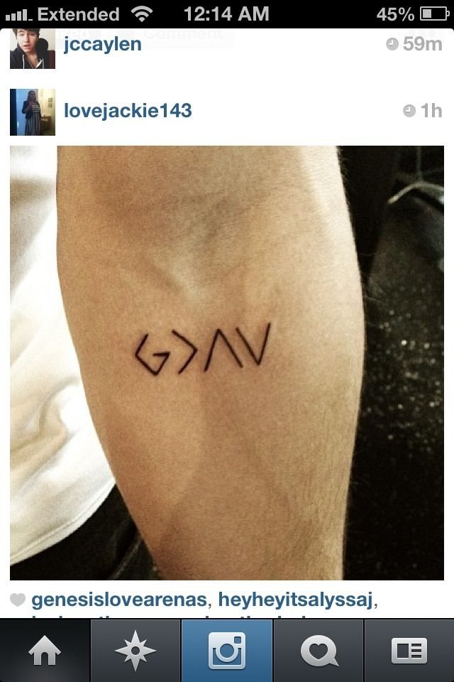 """I love this! Nick Jonas tattoo It means """"God is greater than the highs and the lows"""""""